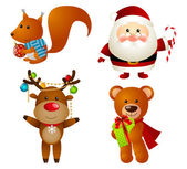 Set of Christmas cartoon characters — Vector de stock