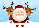 Cute Santa with funny deers — Stock Vector