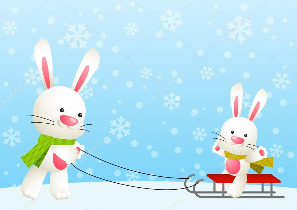Images of Cute White Rabbits Cute White Rabbits With Sled Vector by Huhli13