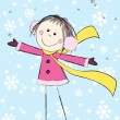 Funny girl on winter background — Stock Vector #35248497