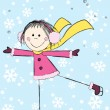 Funny girl on winter background — Stock Vector