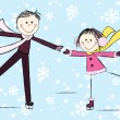 Funny girl with boy on winter background — Stock Vector
