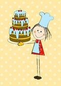 Birthday card with cute girl — Stock Vector