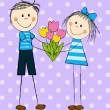 Funny couple with tulips bouquet — Stock Vector