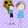 Funny doodle couple with sunflowers — Stock Vector