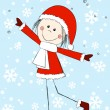 Funny girl wearing Santa costume — Stock Vector
