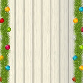 Kerstboom takken op houten achtergrond — Stockvector