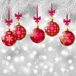 Christmas tree branches with pink balls — Imagen vectorial