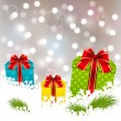 Christmas gifts on white snow — Stock Vector