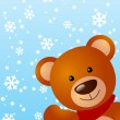 Funny bear on winter background 2 — 图库矢量图片