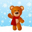 Funny bear with gift box — Stockvectorbeeld