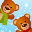Funny bears on winter background — Stock Vector