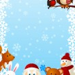 Stock Vector: Funny Santa with cute animals 2