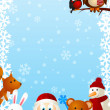 Funny Santa with cute animals 2 — Stock Vector