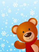 Funny bear on winter background 2 — Stock Vector