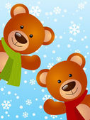 Funny bears on winter background — Vettoriale Stock