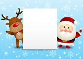 Funny Santa and deer with empty paper sheet — Stock Vector