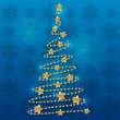 Golden Christmas tree on blue — Stock Vector
