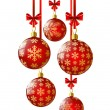 Red Christmas balls on white — Stock Vector