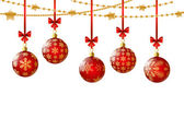 Red Christmas balls on white — Stock Vector