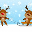 Funny deers with sled — Stockvectorbeeld