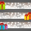 Set of horizontal Christmas banners  — Stock Vector
