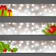 Set of horizontal Christmas banners — Imagen vectorial
