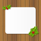 Christmas card with holly leaves — Stock Vector