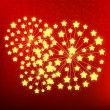 Starry fireworks on red background — Stock Vector #36664335