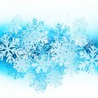 Winter background with blue snowflakes — Vektorgrafik