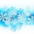 Winter background with blue snowflakes — 图库矢量图片