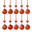 Set of red Christmas balls — Stock Vector
