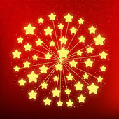 Starry fireworks on red background — Stock Vector
