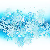 Winter background with blue snowflakes — Vector de stock