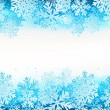 Winter background with blue snowflakes — Stock Vector