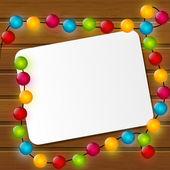 Vánoční přání s barevných žárovek — Stock vektor