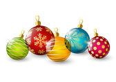 Color Christmas balls on white — Stock Vector