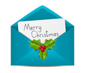 Christmas envelope with paper card — Stock Vector