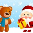 Funny Santa with bear — Stock Vector