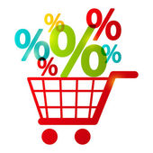 Carro de compras con símbolos por ciento — Vector de stock