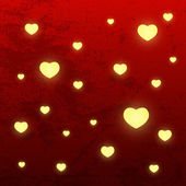 Shiny hearts on red background — Vetorial Stock