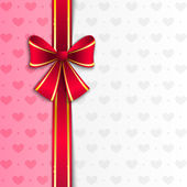 Valentine background with pink ribbon — Stock Vector