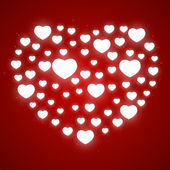 Shiny hearts on red background — Vecteur