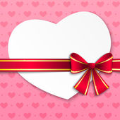 Valentine card with pink ribbon — Stock Vector