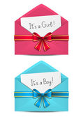Baby shower cards in envelopes — Stock Vector