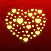 Shiny hearts on red background — 图库矢量图片