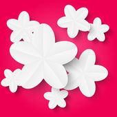 Flores de papel blanco — Vector de stock