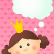 Princess girl dream about something — Stock Vector