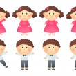 Set of little girls and boys — Stock Vector