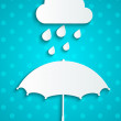 Stock Vector: Paper umbrellwith rainy cloud